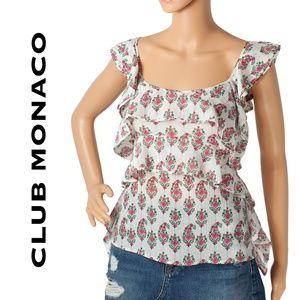 Club Monaco Floral Print Silk Blouse Size M